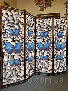 "Декоративная интерьерная ширма "" Бабочки на камушках "" 170х200см"