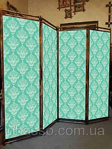 """Ширма для комнаты """"Дамаск зелёная """"170х200см"""