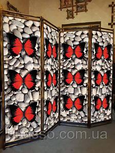 "Декоративная интерьерная ширма ""Красная бабочка на камушках"" 170х200см"