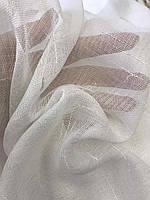 Лляна тюль на стрічці турецька ALBO 400x270 cm Біла (T-L-4), фото 5