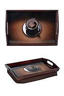 Поднос на подушке с ручками BST 48*33 коричневый Чашка кофе