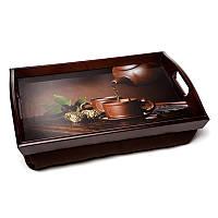 Поднос на подушке с ручками BST 710047 48*33 коричневый Чайник