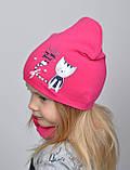 Осенне весенний яркий комплект шапка с хомутом для девочки Малиновый Коралловый, фото 5