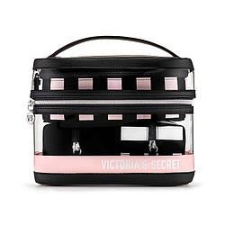 4 в 1 Набор Косметичек Victoria's Secret Beauty Bag Set, Розовый с Черным