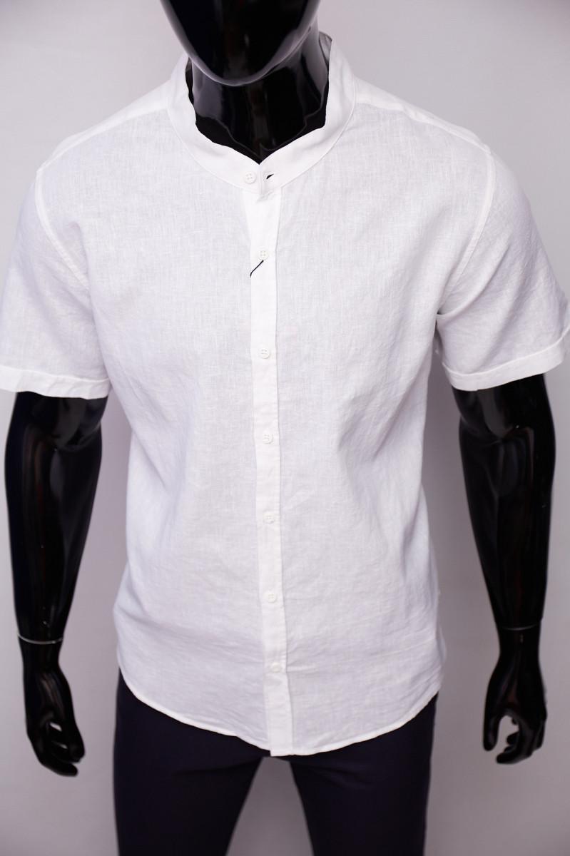 Рубашка льняная Porte Ricco 16535 батал короткий рукав белая 5xl