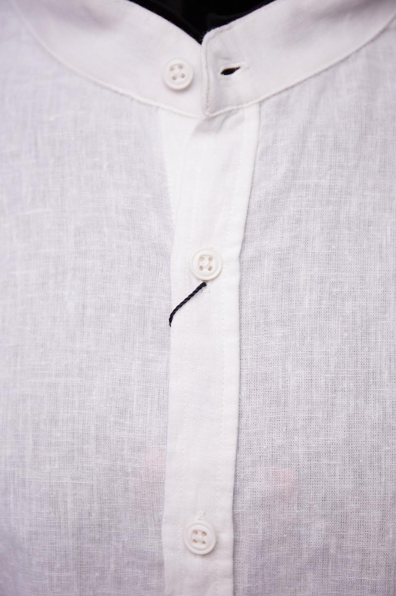 Рубашка льняная Porte Ricco 16535 батал короткий рукав белая 5xl 2