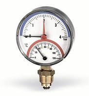 Термоманометр радиальный, 80, 0-120С, 4 бара