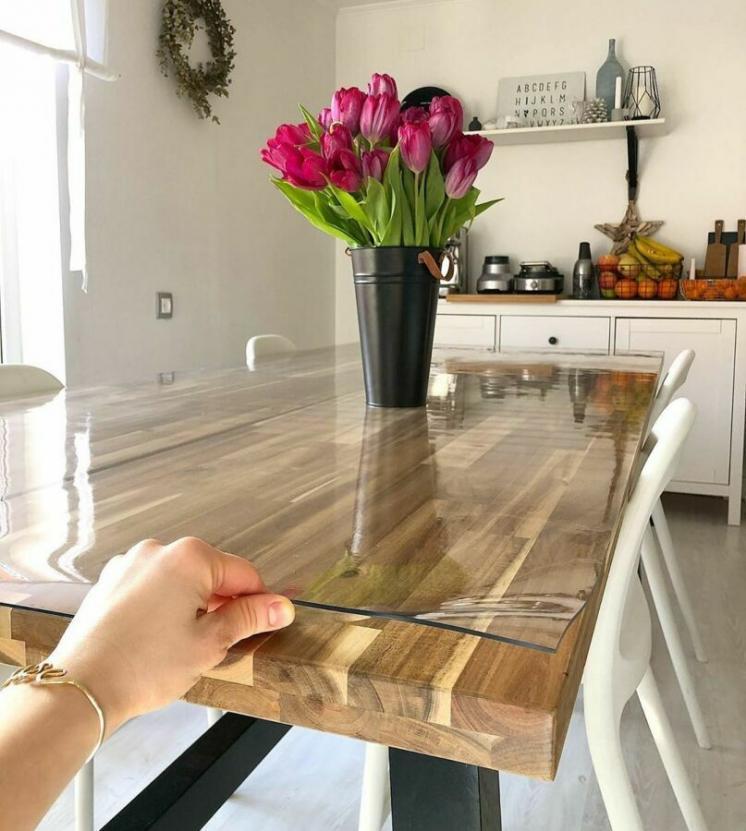 Прозрачная силиконовая скатерть на стол Soft Glass Защита для мебели 1.0х2.7 м Толщина 1.5 мм Мягкое стекло