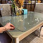 Прозрачная силиконовая скатерть на стол Soft Glass Защита для мебели 1.0х2.7 м Толщина 2 мм Мягкое стекло, фото 3
