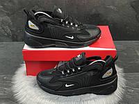 Чоловічі кросівки Nike Zoom 2k чорні — шкіряне взуття в стилі Найк зум 2к демісезонні