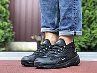 Мужские кроссовки Nike Zoom 2k черные —  кожаная обувь в стиле Найк зум 2к демисезонные
