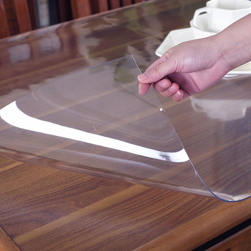 Прозрачная силиконовая скатерть на стол Soft Glass Защита для мебели 1.0х2.7 м Толщина 2 мм Мягкое стекло