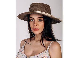 Шляпа канотье Эрика оптом темно-капучиновая