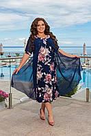 Летнее женское шифоновое платье большого размера свободного кроя