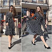 Платье женское модное Котон манго белое чёрное в горошек с рукавами +пояс нарядное распродажа красивое