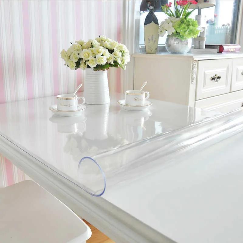 Прозрачная силиконовая скатерть на стол Soft Glass Защита для мебели 1.0х2.9 м Толщина 2 мм Мягкое стекло