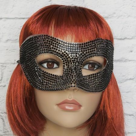 Венецианские карнавальные маски со стразами (черная)