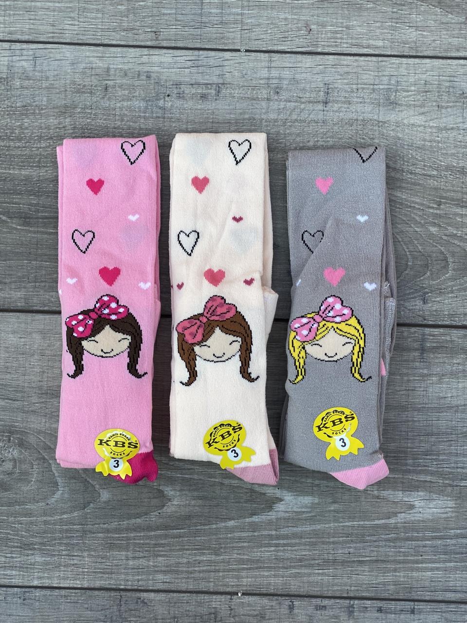 Дитячі колготи бавовна KBS принцеса для дівчаток 1,3 року 6 шт. в уп. мікс 3х кольорів