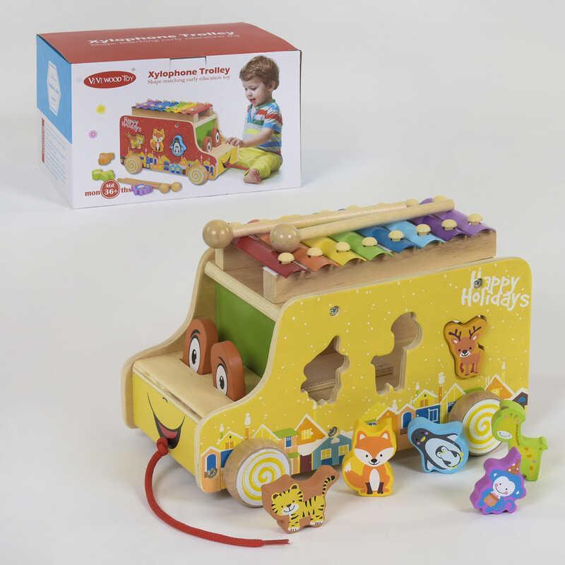 Деревянная машинка-сортер с ксилофоном С 39201 (24) в коробке