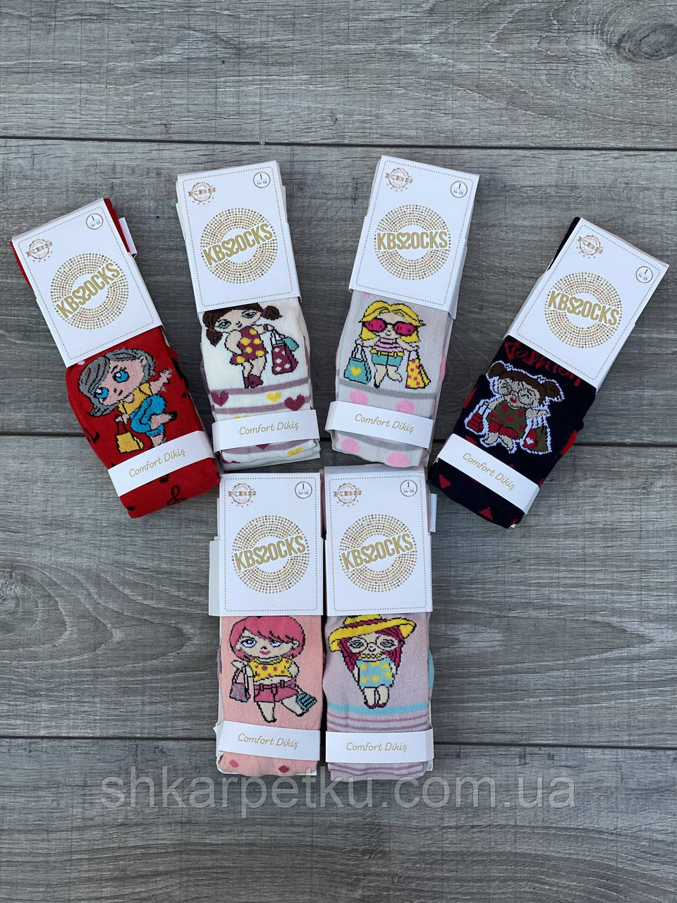 Дитячі колготи бавовна KBS дівчинка для дівчаток 1 рік 6 шт. в уп. мікс із 6 кольорів