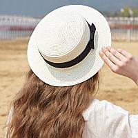 Шляпа женская летняя соломенная канотье с бантиком (кремовая)