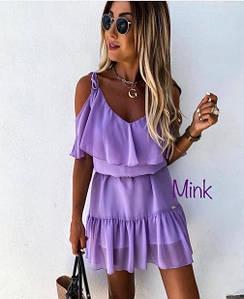 Летнее платье на бретелях с воланами лиловое из шифона