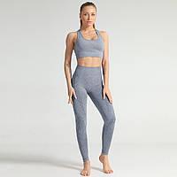 Спортивный костюм женский бесшовный компрессионный для фитнеса. Комплект лосины и топ, размер M (серый)