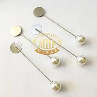 Булавка основа c жемчугом для броши, цвет Silver, 76х15мм*1шт