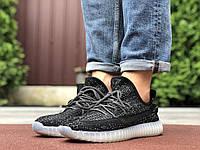Кроссовки Adidas Yeezy Boost черные  — мужские кроссовки сетка Адидас Изи Буст рефлективные шнурки, фото 1