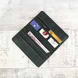 Кошелек 10 cards зеленый из натуральной кожи crazy horse, фото 6