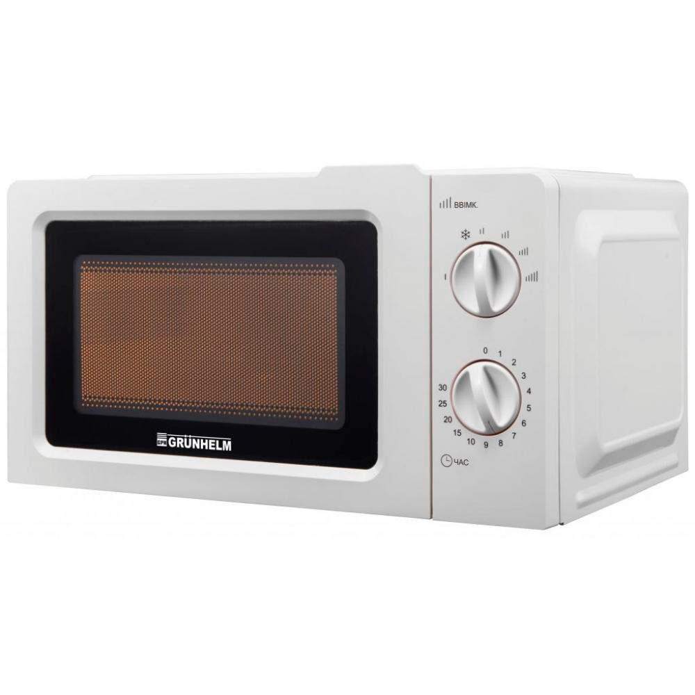 Микроволновая печь 800 Вт. 20 л, 6 уровней мощности, Grunhelm 20MX701-W (81230)