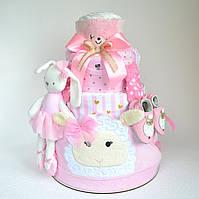"""Торт из памперсов с вещами """"Розовые облака"""" 150 шт."""