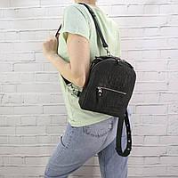 Рюкзак женский piton-small чёрный из натуральной кожи с оттиском