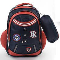 Школьный рюкзак для мальчика черный с красным с пеналом HDP