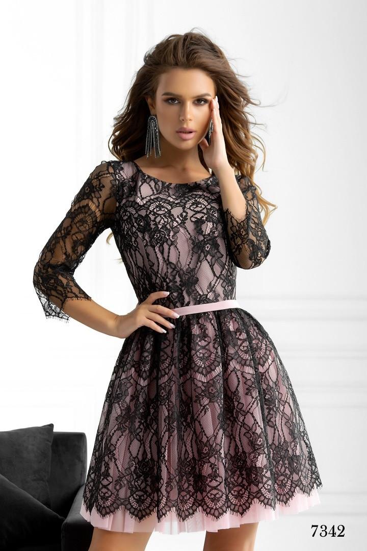 Платье вечернее короткое красивое гипюр+сетка 42,44,46