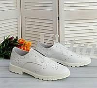 Белые кожаные женские туфли., фото 1