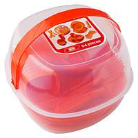 Набір туристичного посуду GreenCamp, пластик, 54 предмета, помаранчевий