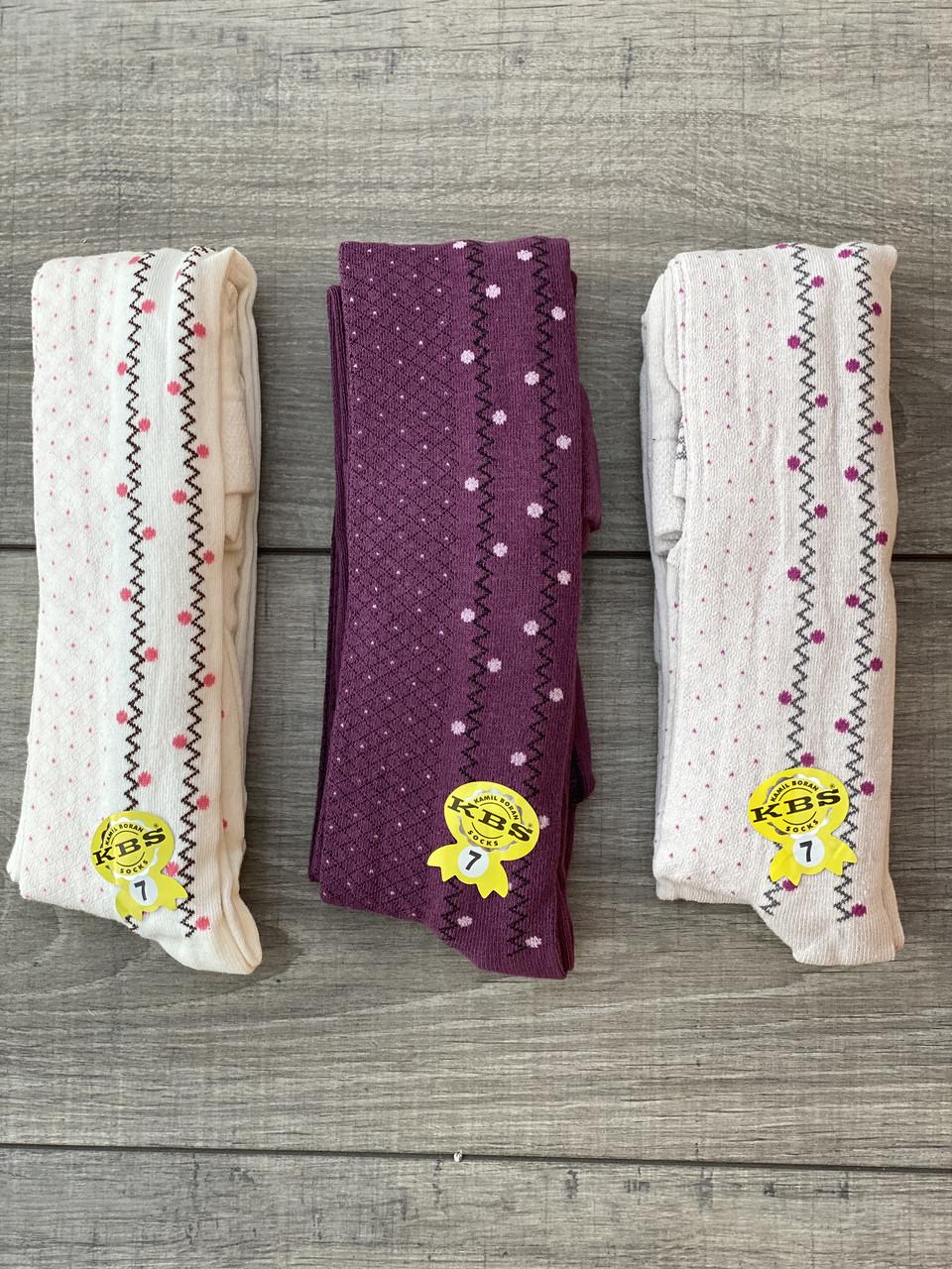Дитячі колготи з принтом ялинка бавовна KBS для дівчаток 7 років 6 шт. в уп. мікс 3х кольорів