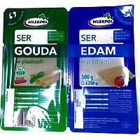 Сыр в нарезке Гауда и Эдам Gouda/Edam 500г, MlekPol