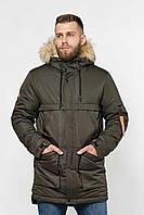 Мужская теплая зимняя куртка-парка с капюшоном на меху