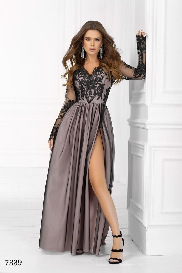 Платье вечернее длинное красивое длинный рукав гипюр+сетка+софт 42,44,46