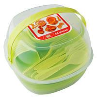 Набір туристичного посуду GreenCamp, пластик, 54 предмета, салатовий