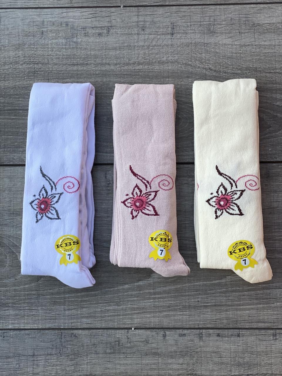 Дитячі колготи принт квітка бавовна KBS для дівчаток 7 років 6 шт. в уп. мікс із 3х кольорів