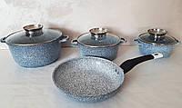 Кухонный набор посуды UNIQUE UN-5521 казаны и сковорода (16см, 20см, 24см, круглые, 24см сковорода)