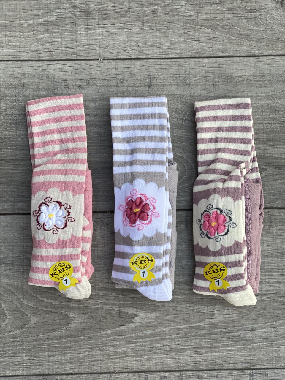 Дитячі колготи KBS бавовна принт квітка-полоска для дівчаток 7 років 6 шт. в уп. мікс 3х кольорів
