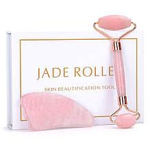 """Ролик и скребок лапка гуаша """"Jade Roller"""" из натурального розового кварца (комплект)"""