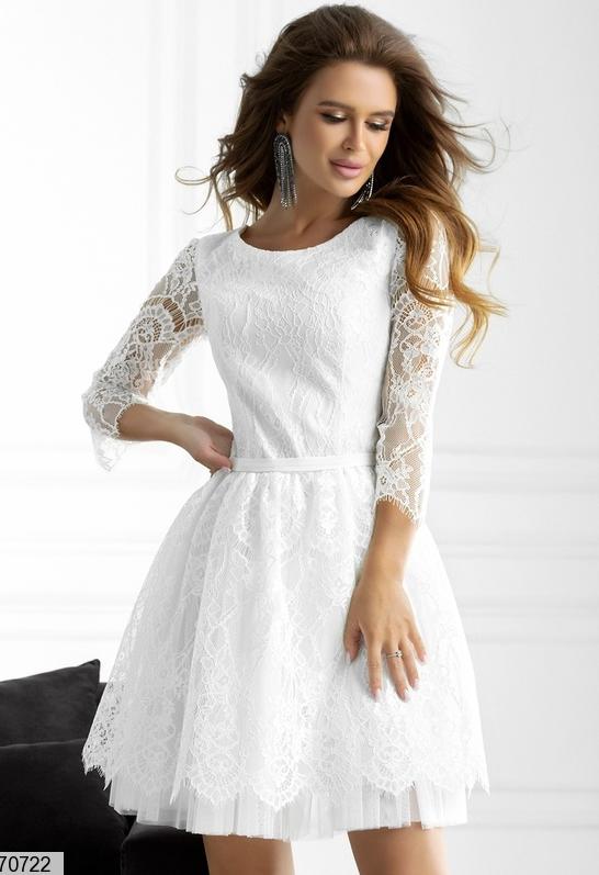 Нарядное платье гипюровое цвет белый Размеры: 42.44.46.