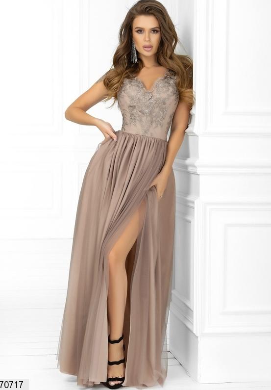 Длинное нарядное платье цвет бежевый Размеры: 42.44.46.