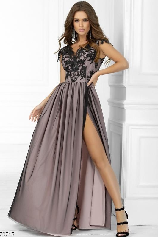 Длинное нарядное платье цвет черный/фрез Размеры: 42.44.46.