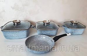 Кухонний набір посуду UNIQUE UN-5531 казани і сковорода (квадрат 2,4 л; 4,3 л; 6 л;, сковорода 24см)